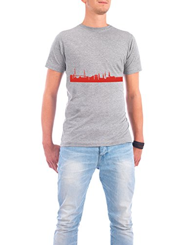 "Design T-Shirt Männer Continental Cotton ""HAMBURG 03 Monochrom Tangerine"" - stylisches Shirt Abstrakt Städte Städte / Hamburg Reise Reise / Länder Architektur von 44spaces Grau"