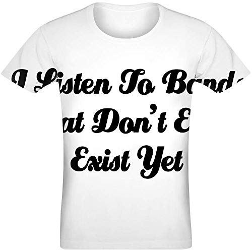 Ich höre Bands, die noch Nicht einmal existieren - I Listen Bands That Don't Even Exist Yet Sublimated T-Shirt Jersey Top for Men & Women All Over Print Unisex Clothing XX-Large -