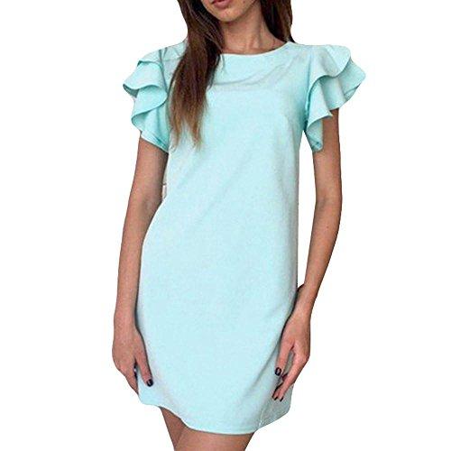 MRULIC Damen Kleid casual pure Farbe Minikleid, Rib Sleeve Partykleid slim-fit Mädchen Favoriten (EU-36/CN-S, Blau) (Türkise Kleider Mädchen)