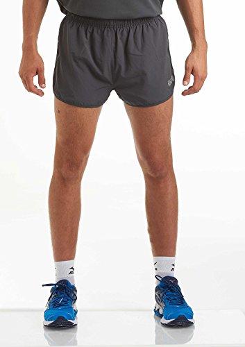 time to run Herren Laufshorts - Leichtes Pace Spirit Workout/Fitnessstudio/Sportliche Shorts mit Innenfutter und Reißverschlusstasche Hinten Holzkohle L - Reißverschlusstasche Hinten