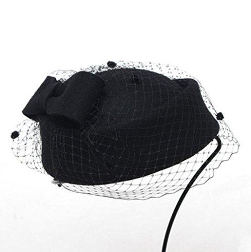 WE&ZHE Pure laine Femme feutre Chapeau Beret fil NET style Décoration Angleterre élégante Mode Rétro En automne et en hiver 4#