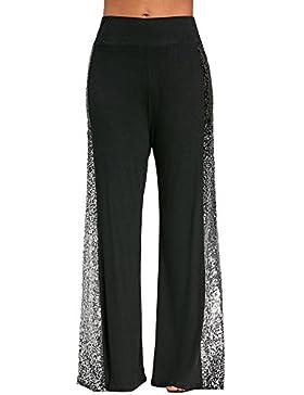DOGZI Mujer Pantalones Tallas Grandes Moda Mujer Casual Pierna Ancha Pantalones Gradiente Lentejuelas Pantalones...