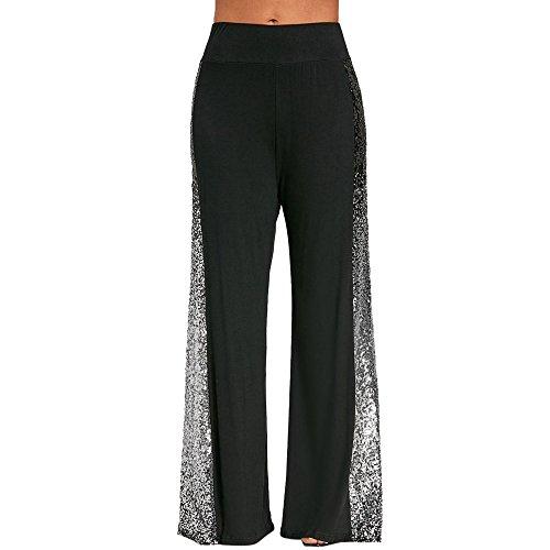 OYSOHE Breite Bei Hosen Damen Einfarbig Gradient Sequin Patchwork Länge Hosen Freizeitosen Yoga Hosen(Schwarz,XX-Large