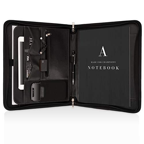 Konferenzmappe A4 Premium Aktenmappe mit doppel Reißverschluss und 11 Zoll Fach für Tablet, Laptop professionelle Schreibmappe aus Kunstleder für Damen und Herren -