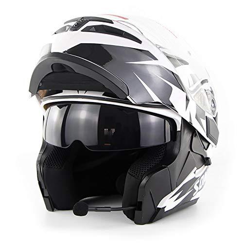 Dodoi Casco Moto Bluetooth, DOT Certificato Full Face Dual Visori Moto ABS Casco Adulto con Microfono,L