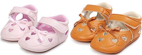 2 Paia Scarpe per bambini Auxma Bowknot scarpe di cuoio ragazza scivolare morbide pantofole bambino Scarpe Primi Passi 0-18 Mesi Arancione Rosa