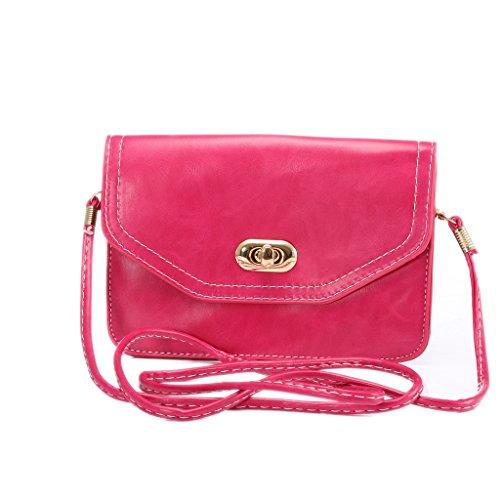 Universal Femmes Mini épaule en cuir Sac PU téléphone mobile porte-monnaie avec bandoulière pour iPhone 7/6/6S,7 Plus/6 Plus/6S Plus et d'autres téléphones 6.3 pouces ci-dessous Rose