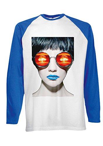 Sexy Girl Bomb Eyes Novelty Black/White Men Women Damen Herren Langarm Unisex Baseball T Shirt Verschiedene Farben Blau