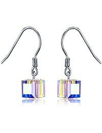 95b31c01627f Pendientes de Mujer Plata 925 Pendientes de Plata Pendientes Colgante de  Cubo Pendiente LEKANI Cristal de Swarovski…