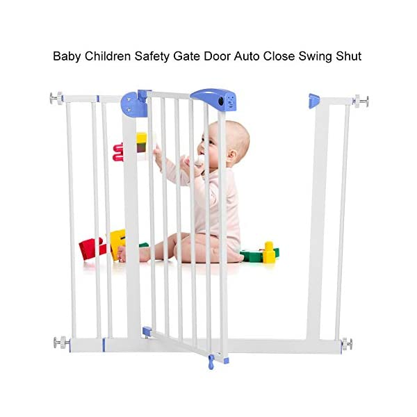 Baby Children Safety Gate Door Auto Close Swing Shut Stair Fence Pet Protection High and Wide Pressure Fit Safety Gate Ideal None Screw Stable and Durable Protective Safety Gate for Babies or Pets Ejoyous ღ Auto Close Double Lock 100% Safe ღ This Safety Gate Door adopt double lock and auto close design. There are 2 locks separately located on the top and bottom of the gate, which makes sure that your kids won't accidentally open it and get out. Besides the auto close design also buy you an insurance for careless forgetting to close it. Also it can locate 90 ° normally open, very convenient for long time in and out. These triple protection let your baby totally free from danger ღ Pressure Fit Set Easy Assemble ღ There is no need of any drilling work. The 4 pressure point will let the Safety Gate be firmly and stably fixed on the wall. Extremely easy to get the assemble job done or disassemble to move it to any place else ღ 85-94cm Wide High Versatility ღ The original wide(81 cm) plus extension accessories (10 cm) makes a total 91 cm wide along with the extension pressure point can let the gate be set at 85-94cm doorways, hallway or stairway (the most common wide of house design). You are free to choose using extension accessories or not 2