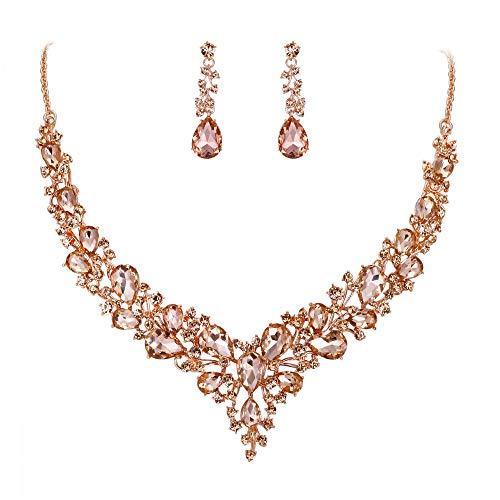 eit Braut Österreichen Kristall Tropfen Cluster Statement Halskette Dangle Ohrringe Schmuck Set Morganit-Rose Gold-Ton ()