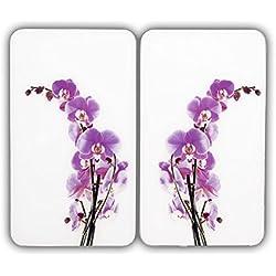 WENKO 2521433500 Protège-Plaque Universel Fleurs dŽOrchidées - lot de 2, pour Tous les Types de Cuisinières, Verre Trempé, 30 x 1.8-4.5 x 52 cm, Multicolore