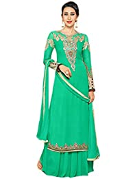 Shoppingover Embroidered Anarkli Suit in Sea Green Color with lace