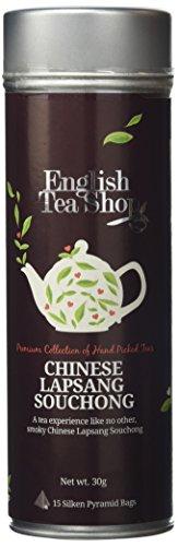 English Tea Shop Organic Lapsang Souchong Tea Round Gift Tin - 15 Pyramid Tea Bags
