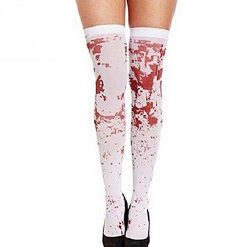 Kicode Damen horro Schick Halloween Kleid Blut Blutig Socken Strümpfe Gothic Scary Krankenschwester Zombie (Kostüme Bride Ghost Damen Erwachsene)
