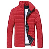 Rosennie Autumn Winter Coats for Men Lightweight Long Sleeve Stand Collar Pure Color Cotton Zipper Warm Thick Jacket Clothing Fashion Casual Shirts Sport Outdoor Outerwear Red