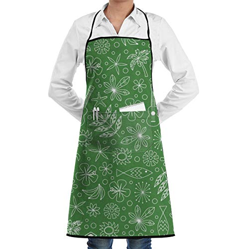 (Dollar Bill) Ditsy Hawaii Hawaiian Honu Sea Turtl 3D Print Water Resistant Polyester Kitchen Apron with Big Pockets Machine Washable Easy Care Twill Sewing Bib Apron for Cooking BBQ Party Big Bill Strap