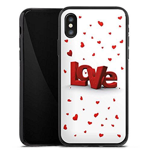 Apple iPhone X Silikon Hülle Case Schutzhülle Love 3D Look Muster Herzchen Silikon Case schwarz