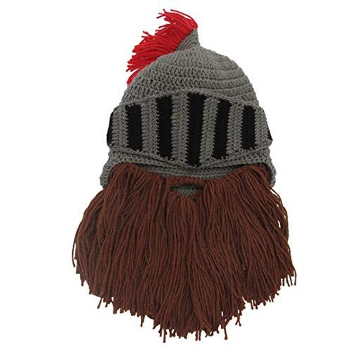 Quaste Cosplay Roman Knight Knit Helm Herren Caps Original Barbar Handgemachte Winter Warme Bart Hüte Lustige Beanies Halloween C1 (Original Halloween-kostüme Männliche)