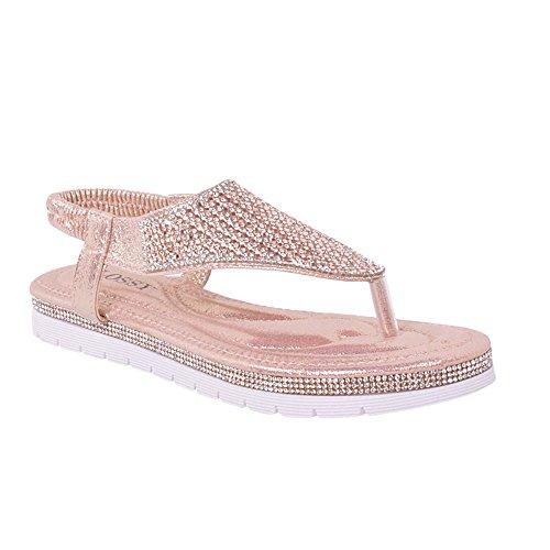 Novas Senhoras Sandálias De Praia Toe Diamante Web Tornozelo Cinta De Verão Sapatos Baixos Tamanho Rosa