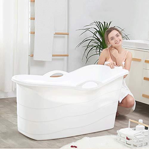 Badewanne Für Erwachsene, Erweiterte Version Doppelter Abfluss Badeeimer Komfortable Whirlpool Mit Saugnapf Ablagekorb (Color : White)