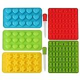 Tebery 7-Teiliges Set Gummibärchen/Schokoladenform Silikon Formen und Eiswürfelbereiter, Pralinenformen, Herz-, Stern- und Muscheln-Formen für Kinder