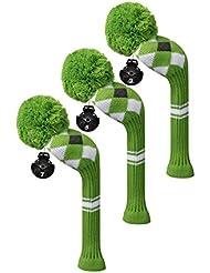 Scott Edward maderas de calle golf club cabeza Covers, Argyle patrón, hilo acrílico double-layers de punto, 3 piezas paquete, giratorio con número etiquetas, 4 colores opcionales, verde