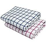 VEL TEXTILE Cotton Bath Towels Pink/Blue Combo (75 x 155 cm) -Set of 2 Pieces