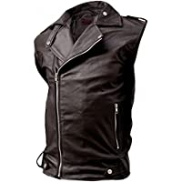 Celebrity Fashion Design Fitted Biker Brown Leather Vest Men's - Quentin CFD2000333