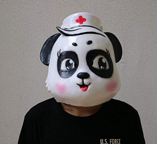 Animal Cute Party Kostüm - HMHH Halloween-Maske Panda Mask_Cute Animal Doctor Krankenschwester Maske Spiele Maske Safeguard Full Face Schutz Maske für Halloween Masquerade Cosplay Kostüm Party Erwachsenenmaske