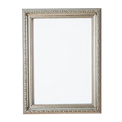 Ornate Shabby Chic Picture/Photo/Poster frame - With an MDF backing board - Ready to hang or stand - With a High Clarity Styrene Shatterproof Perspex Sheet Silver - 14