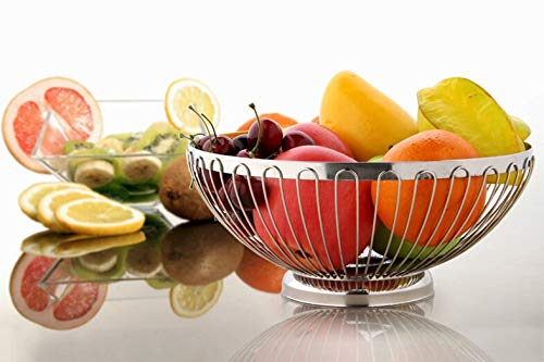 DMAR Fil Corbeille à Fruits en Acier Inoxydable de 24 cm*10.5 cm, Fruits, Support de Stockage pour Fruits, légumes