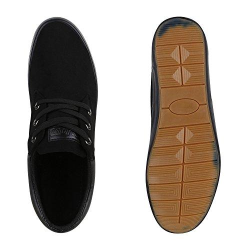 Bequeme Herren Sneakers Low Schlichte SchnÜrer Wildlederoptik Schwarz  Bequeme Herren Sneakers Low Schlichte SchnÜrer Wildlederoptik Schwarz