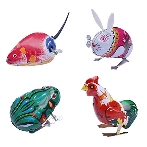 Fenical 4 stücke Kinder Wind up Clockwork Spielzeug Klassische Spielzeug springende Eisen Tier Spielzeug Action Spielzeug für Jungen und mädchen (Frosch + Cock + Kaninchen + Maus) (Für Mädchen Oster-spielzeug)