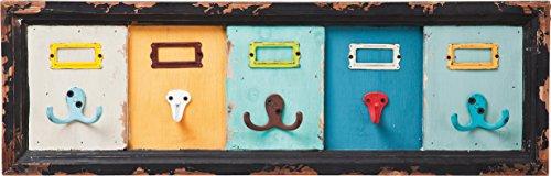 Kare Design Wandgarderobe Index, Garderobenpaneel im Retro Look aus Holz,  Bunte Garderobenleiste mit 8 Haken, Garderobenhaken aus Stahl, Bunt (H/B/T) 21x65x6cm