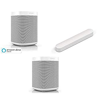 Sonos One (Gen 2) - The powerful Smart Speaker with Amazon Alexa Built-in, White with Beam Compact Smart Soundbar with Amazon Alexa Voice Control, White (B07ZL62VVH) | Amazon price tracker / tracking, Amazon price history charts, Amazon price watches, Amazon price drop alerts