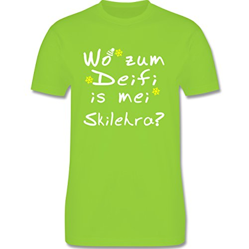 Wintersport - Wo zum Deifi is mei Skilehra - Herren Premium T-Shirt Hellgrün