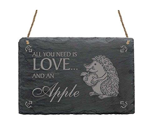 Schiefertafel Schild « All you need is LOVE and an APPLE » mit Igel mit Apfel MOTIV 02 Heim Haus Garten Dekoschild Dekoration