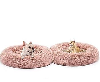 Mjjsk Rond en Peluche pour Animaux Lit  Domestique Nest Deep Sleep Pet Matelas épais Chaud Chien Lit Litière pour Chat Convient pour Chiots Chaton Petits Animaux (L, Rose)