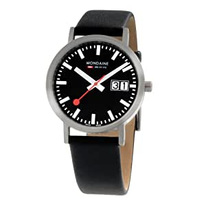 Mondaine Swiss A6273031414SBB Classic Women's Quartz Black Dial Analogue Display and Black Leather Strap Watch