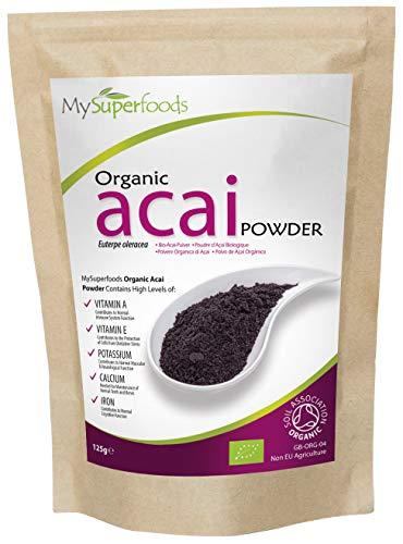 Image of Bio Acai Beere Pulver (125 Gramm) | MySuperFoods | Organisch zertifiziert| Hoch an Antioxidantien | Reich an Ballaststoffe, Protein, Eisen und Nährstoffen | Von Hand geerntet | Perfekt für Desserts