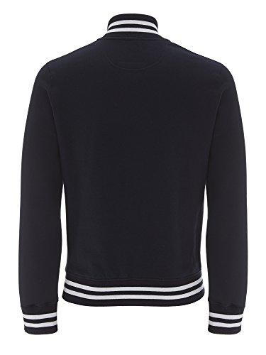 Veste Teddy Homme - 100% Coton Bio - Underhood of London Bleu - Rayures Blanches