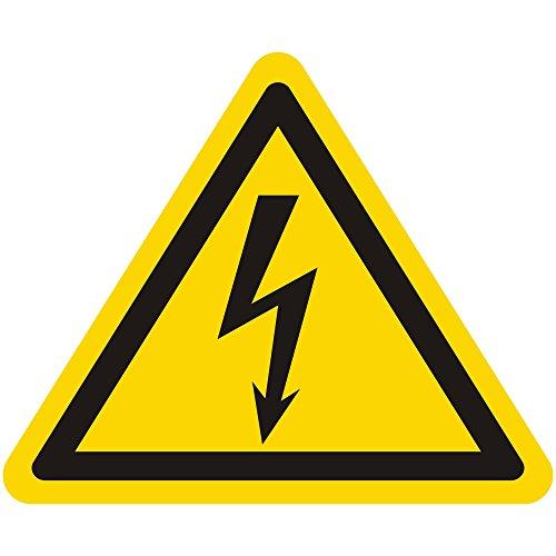 Warnzeichen W012 - Warnung gefährliche elektrische Spannung (Blitzpfeil) - Seitenlänge 25 mm - 15 Warnschilder aus Vinyl Folie, gelb, permanent haftend