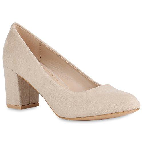 Stiefelparadies Klassische Damen Pumps Business Schuhe Basic Wildleder-Optik Heels 157348 Creme Bexhill 38 Flandell