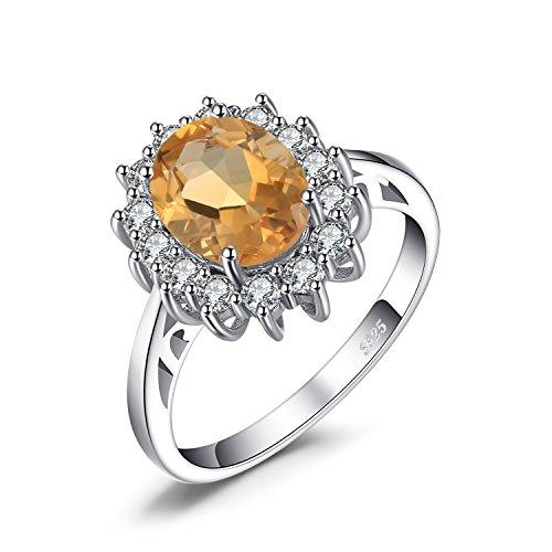 Gelbe Engagement Ringe (JewelryPalace Prinzessin Diana William Kate 1.8ct Natürliche Gelb Citrin Ring Verlobungsring damenring 925 Sterling Silber Größe 51 to 59)