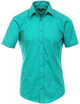 Venti Hemd Newgrün Uni Kurzarm Body Stretch Extra Schmal Kentkragen 96% Feinste Baumwolle 4% Elasthan Bügelfrei
