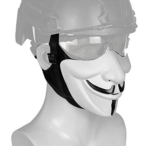 (lennonsi Halloween Weihnachten Maske V-Förmig Kostüm Cosplay Halbgesichtsmaske Fashing Karneval Jagd Zubehör Party Requisiten Im Freien Taktische Film Männer Weiß)