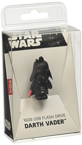 Tribe FD007501 Star Wars, Pendrive 16 GB USB 2.0, Portachiavi, Darth Vader (Dart Fener) con Spada, Nero