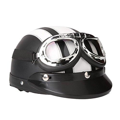 KKmoon Motorrad Scooter gesichtsoffen halbe Leder Helm mit Visier UV-Schutzbrillen Retro Vintage-Stil 54-60cm(Weiß)