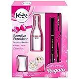 Veet Sensitive Precision - Recortador eléctrico de pelo, 7 accesorios, con lápiz de cejas, color blanco